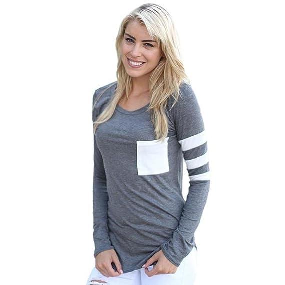 OverDose Para mujer de manga larga de cuello redondo Camiseta empalmado tapas de la blusa Camiseta