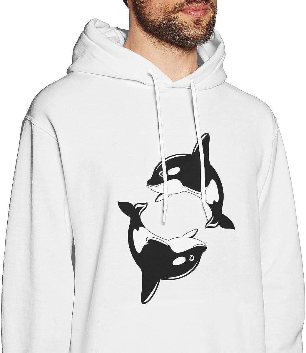 FTHX Mens Hoodies Orca Whale Cool Pullover Hooded Print Sweatshirt Jackets