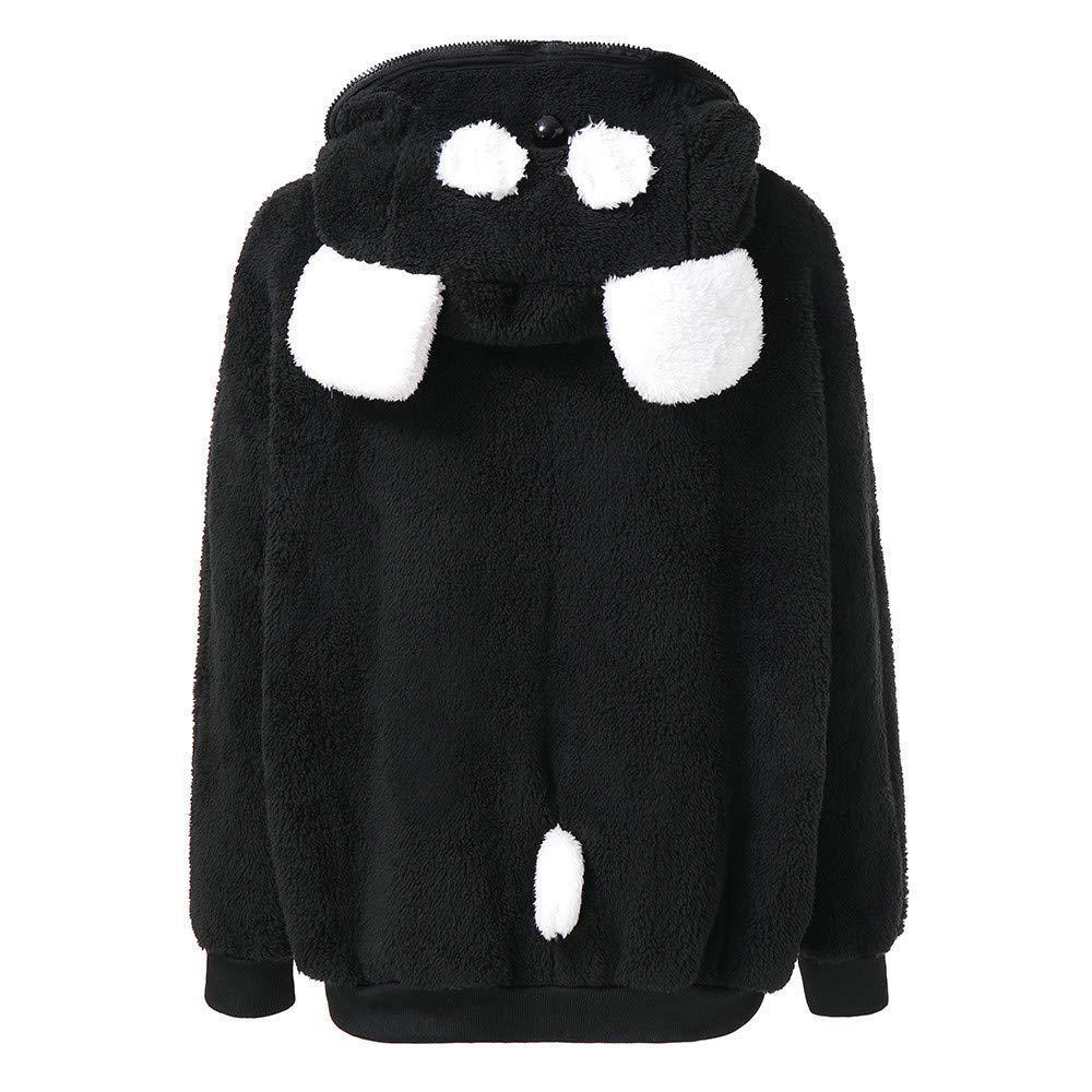 Escudo de las señoras Outwear Chaqueta Parka Oso lindo Oreja Panda Invierno Cálido Hoodie Chaqueta con capucha Chaqueta informal Abrigo de invierno Prendas ...