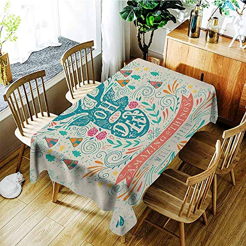 XXANS Fashions Rectangular Table Cloth,Vintage,Reindeer with Antlers with Native American Tribal Element and Flowers Motivational,Dinner Picnic Table Cloth Home Decoration,W60x120L Multicolor