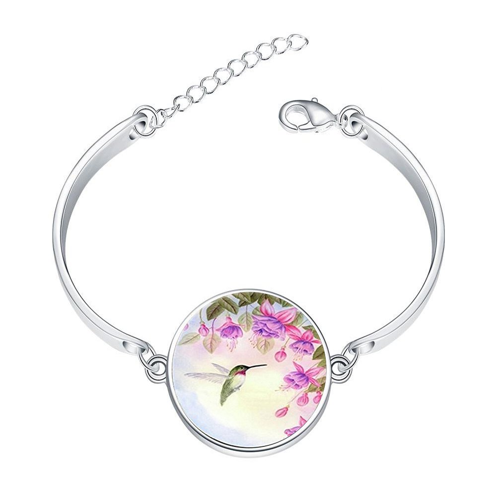 Adjustable Sterling Silver Bracelets Vintage Hummingbird with Flower Alloy Bangle Custom Image Glass Cabochon Brace Lace LEO BON KF-LSZBSSLY-0303