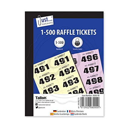 the home fusion company 1500 cloakroom draw raffle tombola numbered tickets book fetes school office