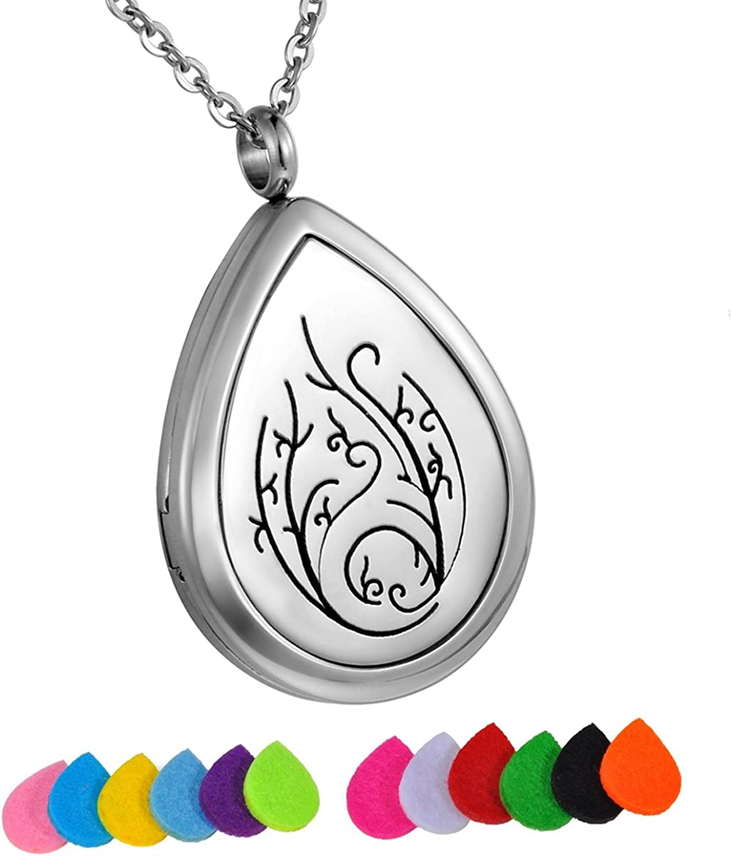 HooAMI Aromatherapy Essential Oil Diffuser Necklace - Stainless Steel Flower Waterdrop Locket Pendant