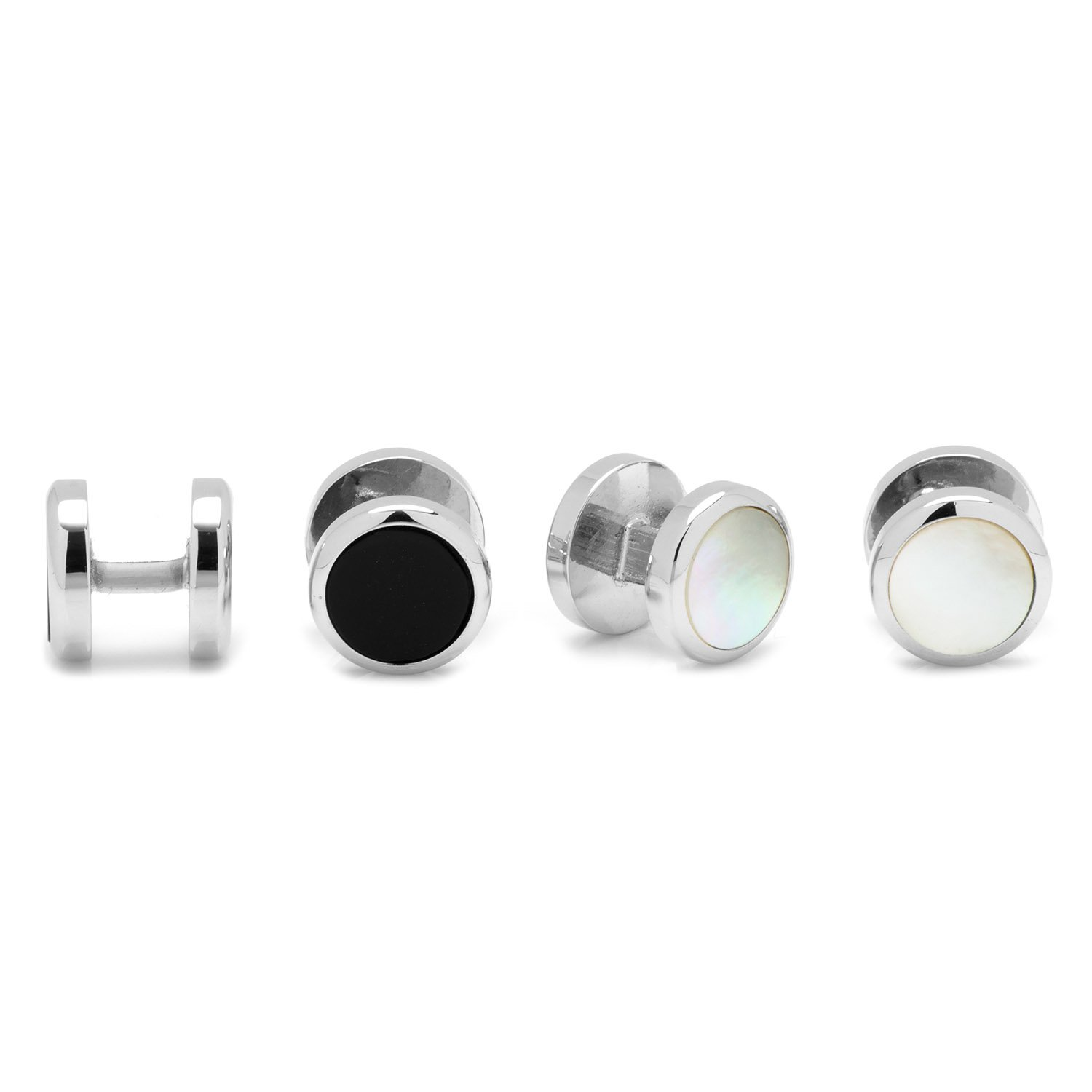 Ox and Bull Trading Co. Double Sided Onyx and Mother of Pearl Round Beveled Studs BL-DSRND-ST