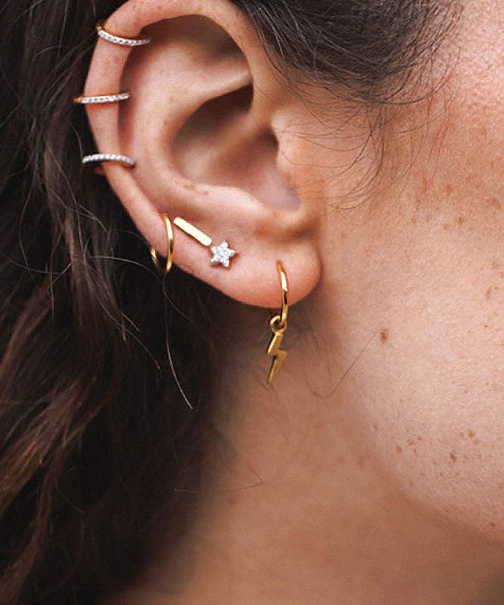 Lotus Fun S925 orecchini creativi a forma di stelle e luna con zirconi incastonati gioielli per donne e ragazze due orecchini si differenziano in stile