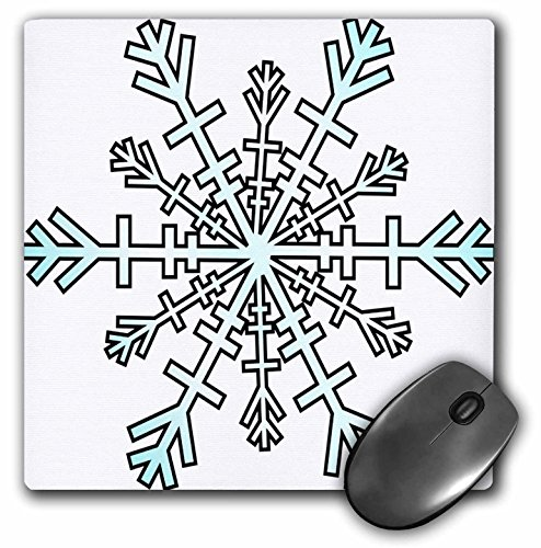 3dRose Taiche - Greeting Cards - Christmas - Large Snowflake A clip art style snowflake in white and blue for Christmas greetings - MousePad (mp_128302_1)