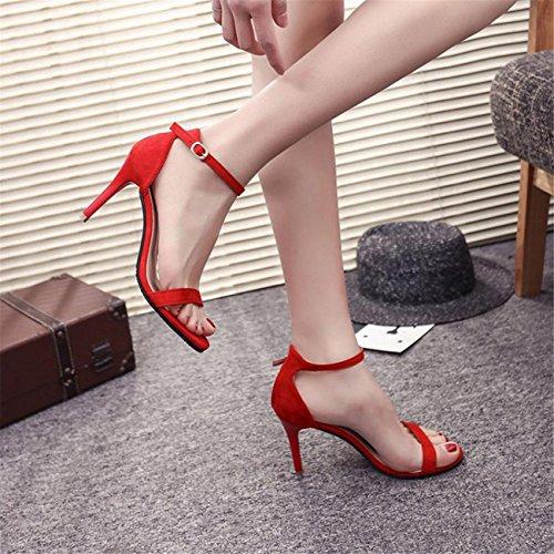 Carrés Été Heels Rouge Hauts High Sexy Daim Sandales Cuir Talon Femme Tendance Lacées Talons Brides Sandales Hautes Chaussures qUSOw1A