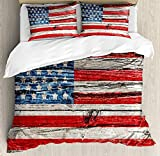 Rustic American USA Flag Bedding Duvet Cover Sets for Children/Adults/Kids/Teens Twin Size, Fourth of July Independence Day Painted Wooden Panel Wall Looking Image, Hotel Luxury Decorative 4pcs Set