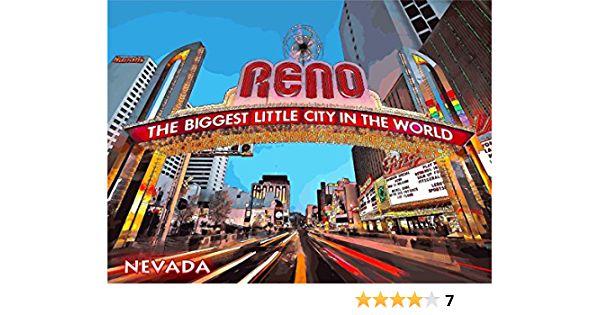 Nevada nv Gamble American Vinyl Reno The Biggest Little City in The World Marquee Shaped Sticker