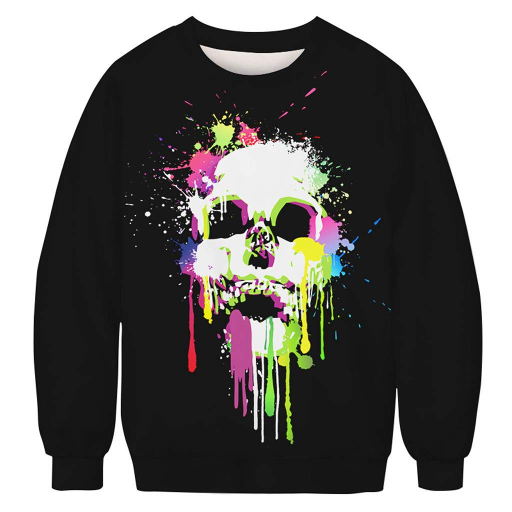 charmsamx Mens Crewneck Sweatshirt Halloween Pumpkin Printed Skull Sweatshirt Pullover Sweatshirts Black, M by charmsamx