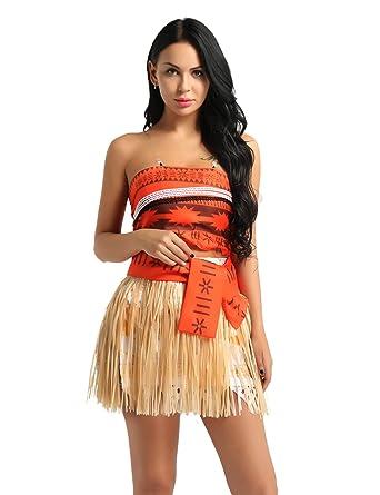7558fac03b17 TiaoBug Women Girls Adventure Princess Moana Costumes Skirt Set Halloween  Dress Up  Amazon.co.uk  Clothing