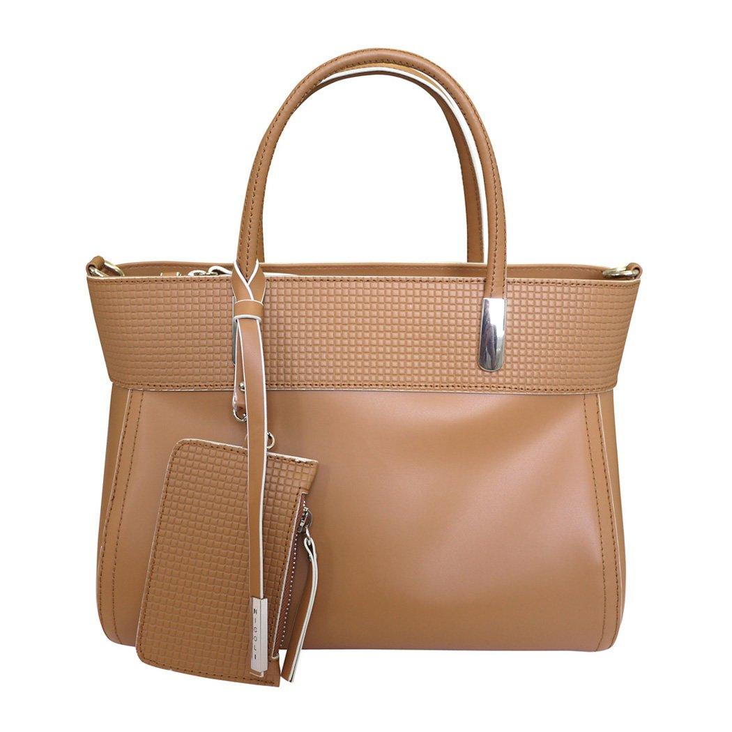 Nicoli 'Chic' Designer Italian Leather Tote Bag Grab Handbag Wedding Bag Tan