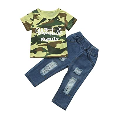 2Pcs Boy Child Camouflage Tops T-Shirt + Denim Hole Pants Jeans Clothes Baby Infants Toddler Outfits