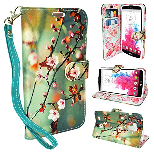 LG K7 Case, LG Tribute 5 Case Wallet, Customerfirst, Wallet Leather Case Premium Pouch ID Credit Card Cover Flip Folio Book Style with Money Slot For LG K7 (Blossom Green)