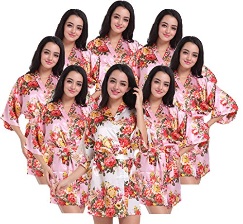Set of 4-10 Women's Kimono Floral Robes for Bride and Bridesmaid Wedding Party Satin Robes Short by DF-deals