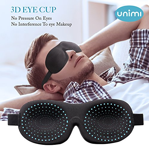 Eye Mask for Sleeping,Unimi Sleep Mask for Men Women, Block Out Light,Comfort and Lightweight 3D Eye Cover,Pressure-Free Eye Shades for Travel,Shift Work,Naps,Night Blindfold (Black)