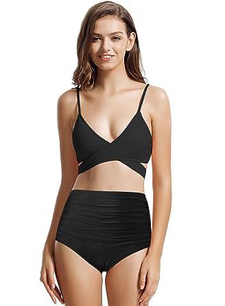 2f7218a818ec1 zeraca Women's High Waisted Wrap Bikini Bathing Suits (Small / 6, 17 Black)