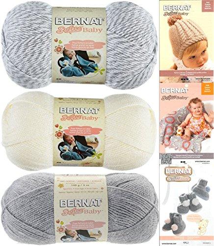 (Bernat Softee Baby Yarn Variety Assortment 3 Pack Bundle Includes 3 Patterns DK Light Worsted (Grey)