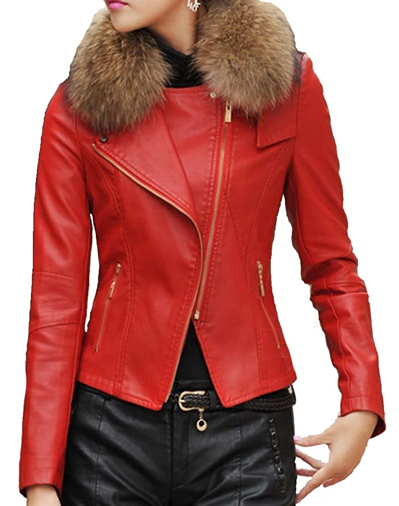 Helan Women's PU Leather Short Motocycle Sports Jacket With Real Raccoon Fur Collar