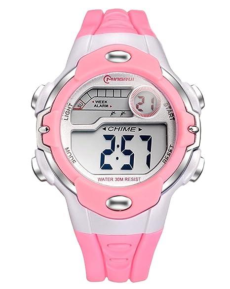 MINGRUI Deportivo LED Reloj Digital con Correa de Gaucho para Niño Niña con Alarma Fecha Cronómetro Calendario 30M Waterproof Wrist Watch - Rosa: Amazon.es: ...