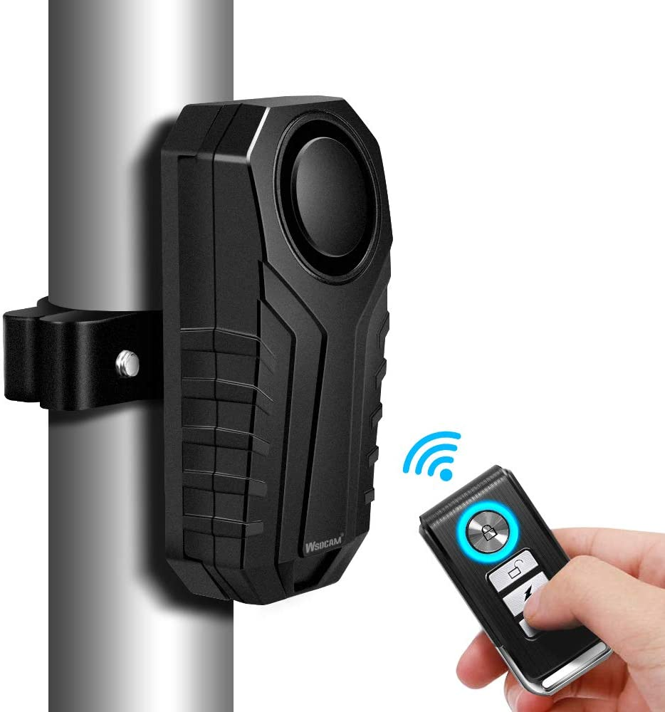 WSDCAM Anti-Theft Bike Alarm with Mount, 113dB Burglar Vibration Motorcycle Bicycle Alarm Security System Waterproof Cycle Bike Alarm with Remote