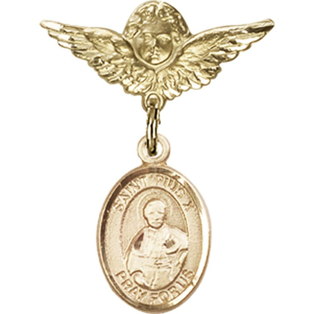 14kt Yellow Gold Baby Badge with St. Pius X Charm and Angel w/Wings Badge Pin 1 X 3/4 inches by Unknown