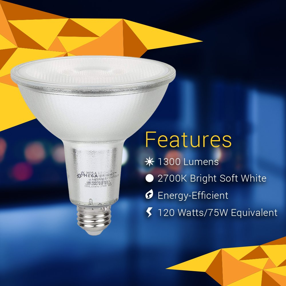 16 Watts 1300 Lumens with 2700K Bright Soft White LED Light- Perfect Replacement for Regular Bulbs MegaBright PAR38 Dimmable LED Light Bulbs 2 Pack Longer Lifespan Energy Efficient