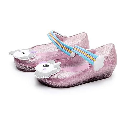 e95bc47171e8f1 Girls Unicorn Jelly Shoes Cute Shiny Princess Mary Jane Flat for Toddler Kid