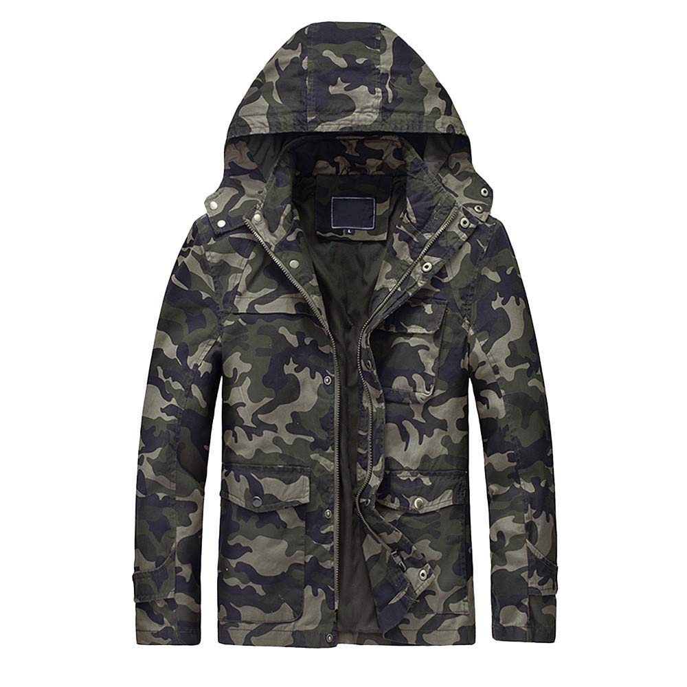iYYVV Mens Camo Autumn Winter Camouflage Salopette Zipper Hoodie Outwear Jacket Coat