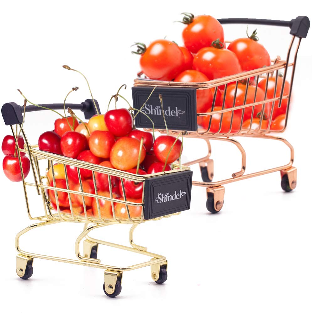 Mini Shopping Cart, 2PCS Mini Supermarket Handcart Shopping Cart Basket by 3 otters