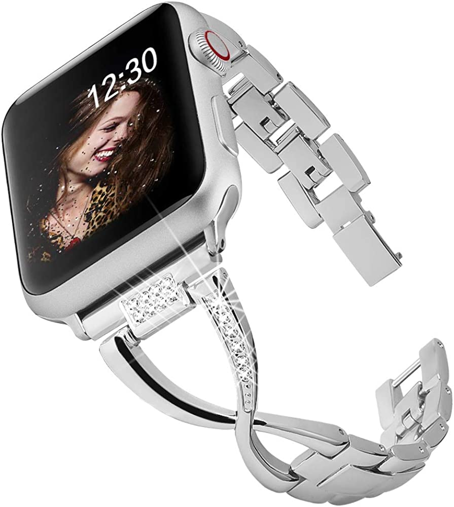 BAITEYOU Band Compatible for Apple Watch Bands 38mm 40mm iwatch Series 5 4 3 2 1 Bands 42mm 44mm for Women Jewelry Metal Wristband Strap,Bracelet Replacement with Bling Diamond X-Link