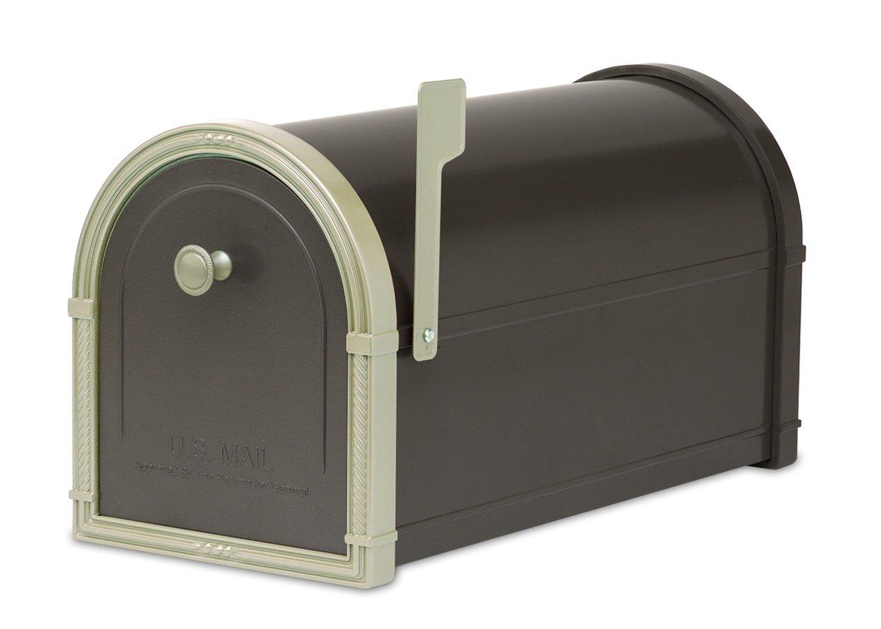 Architectural Mailboxes Bellevue Mailbox Black with White Bronze