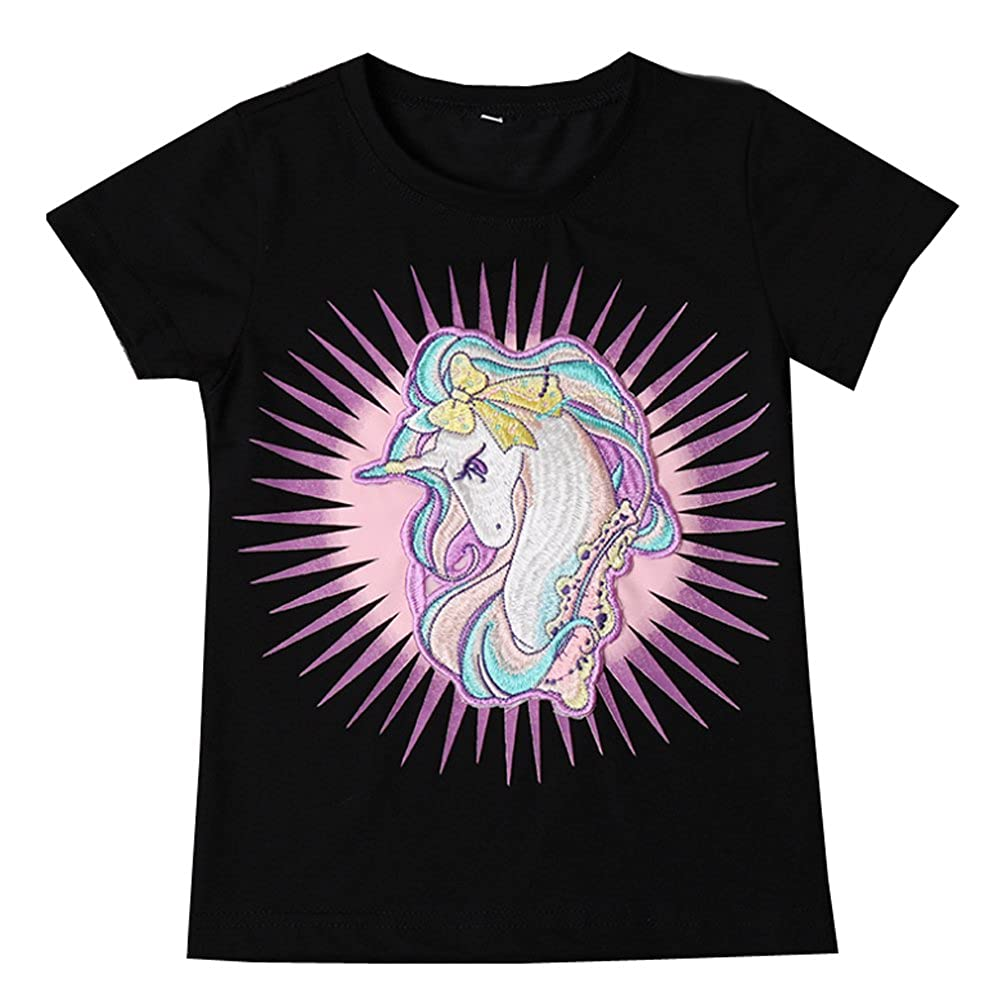 YUMILY 2T-4T Toddler Cotton Unicorn T-Shirt Crew Neck Short Sleeve Tee,2 Piece