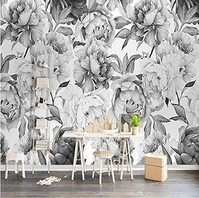Fiori 3d Carta.Weaeo Personalizzato 3d Murale Parete Nero Bianco Peonia Fiore