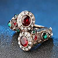 UltraSunday Turkish Red Rings Antique Gold Color Women's Jewelry Double Head Red Gem Stone F (9)