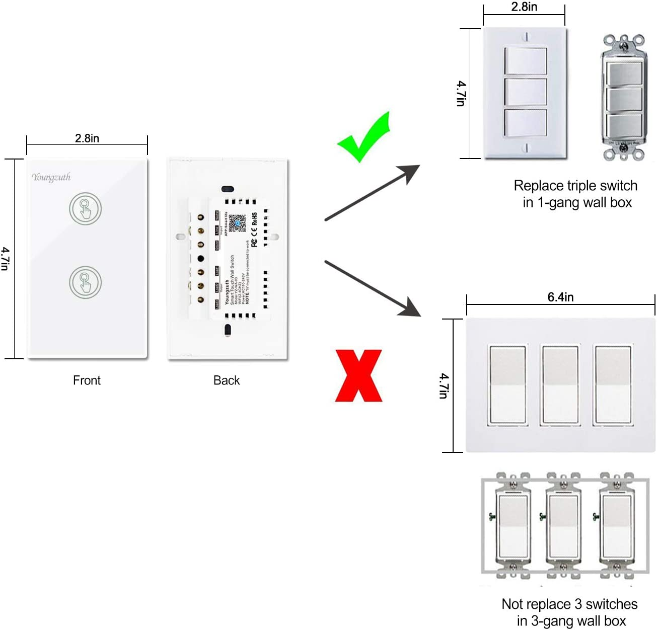 Youngzuth Compatible With Amazon Alexa Smart Wifi Light Switches Touch Wall Switch Panel Replace 2 Switches In 1 Gang Wall Box Combination Work With Google Home And Ifttt Smartphone App Control Amazon Com