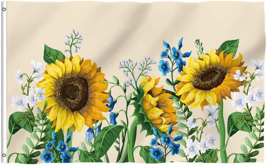 Tititex Autumn Sweet Floral Sunflowers Garden Flag 3x5 Ft, Fall Textured Painting with Brass Grommets Outdoor Flag House Decorations