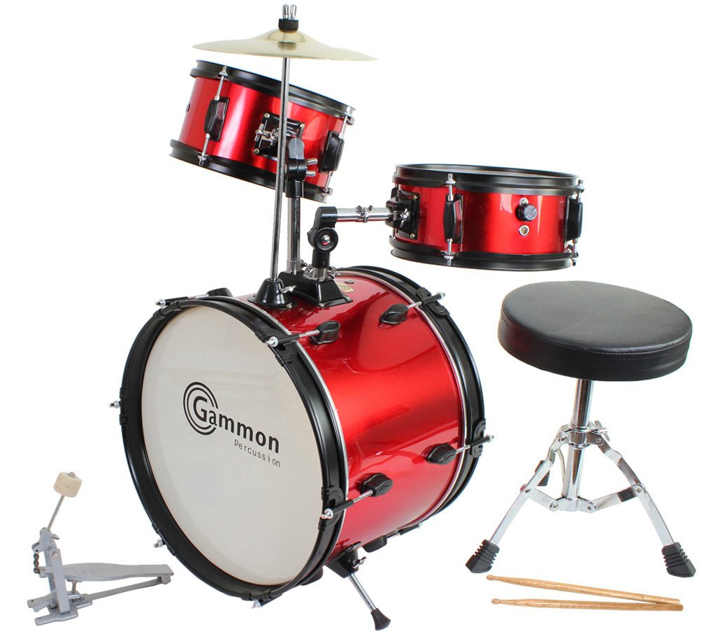 Red Drum Set Complete Junior Kid's Children's Size with Cymbal Stool Sticks - Everything You Need to Start Playing Gammon Percussion JR1042 RED AMZ