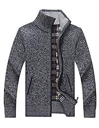 LemonGirl Men cardigan high - necked zipper sweater with Pocket