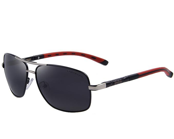 MERRY'S Mens Driving Polarized Sunglasses for Men Square 45mm Sun glasses S8714 (Black, 65)