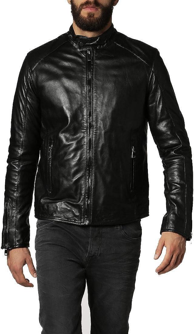 New Mens Genuine Cow Leather Slim Fit Biker Motorcycle Jacket for Men LFC364 XXXL Black