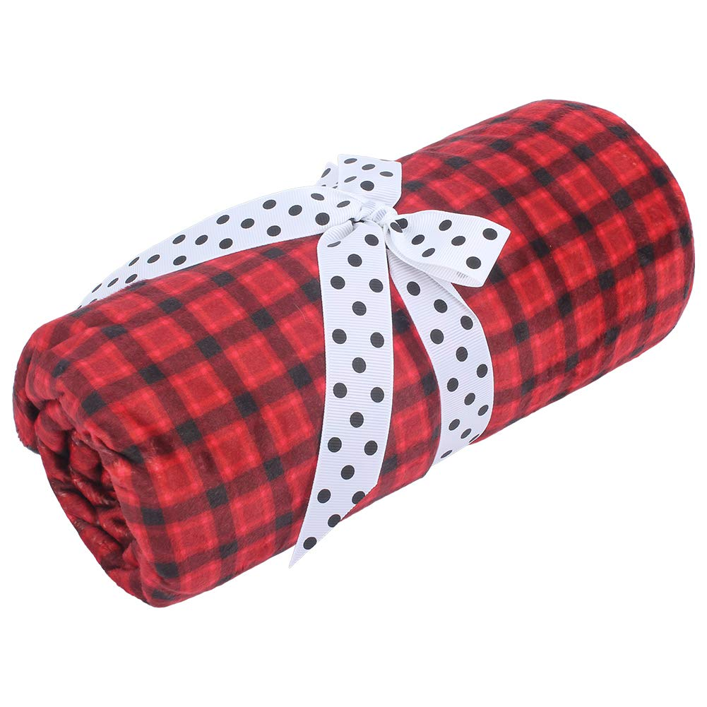 Bedding Nursery with Double Layer Dotted Backing Girls Plaid Red//Black, 30 x 40 Inch Newborns Toddlers Plush Receiving Blanket for Boys Super Soft Minky Baby Blanket