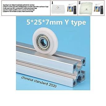 5pcs 5 * 25 * 7 mm tipo Y convexo nylon polea rodamientos de ...