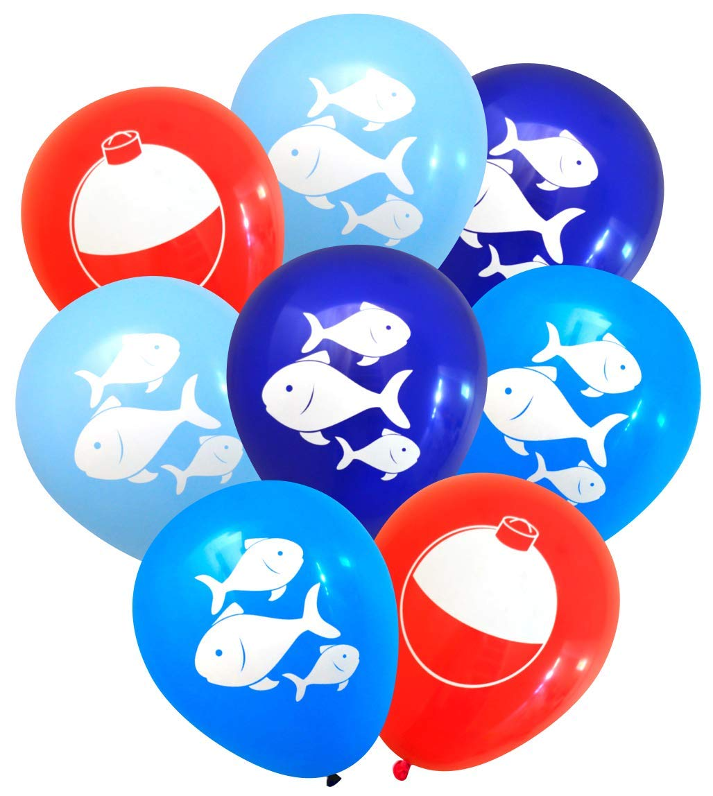 Nerdy Words Fish and Bobber Balloons (16 pcs) Fishing Party Decorations (Red, Navy, Dark Blue, Light Blue) by Nerdy Words