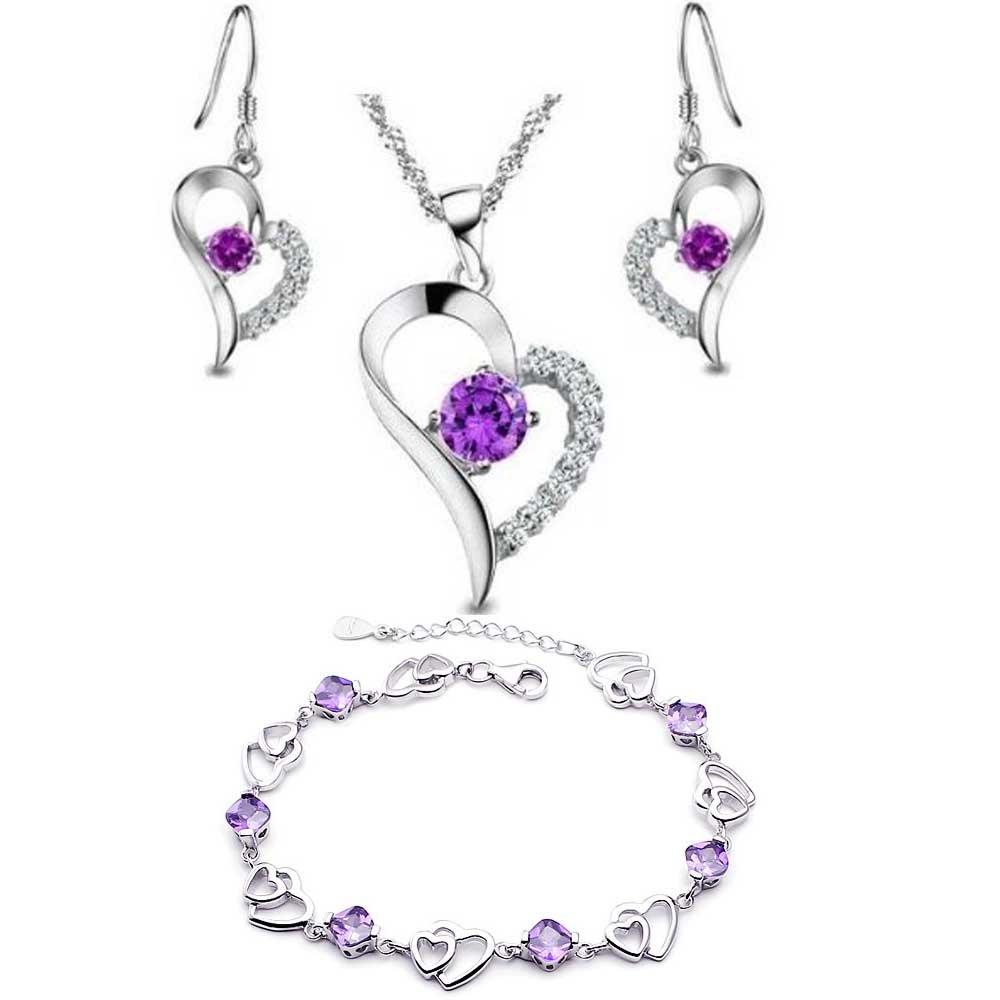dames améthyste en argent sterling, Coeur Set Boucle d'oreille et collier pendentif + bracelet .pour femmes filles f1458