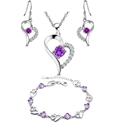925 Silver Amethyst Heart Shape Set Earring and Pendant Necklace + bracelet Pq0jnlD