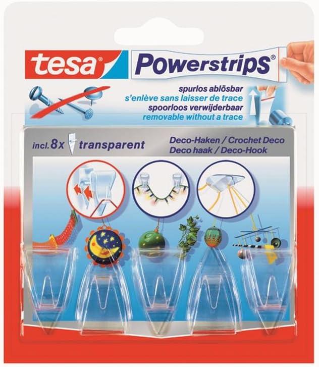 tesa/® Powerstrips 58900-00013-00 Ganci adesivi decorativi con 8 powerstrip colore: Trasparente 5 pz