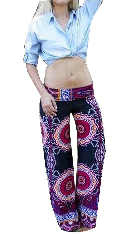 XTX Women's Loose Floral Print Smocked Waist Stretch Pants