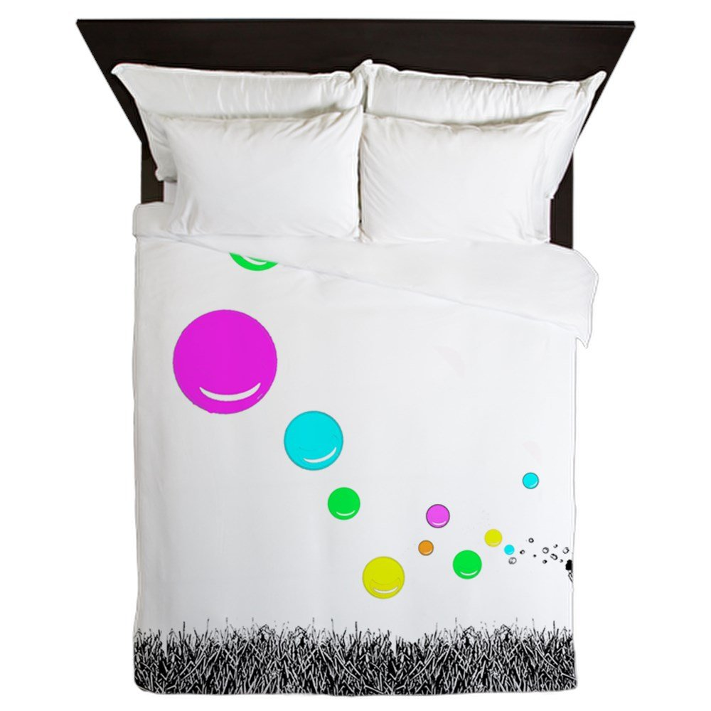 CafePress - Girl Blowing Bubbles - Queen Duvet Cover, Printed Comforter Cover, Unique Bedding, Microfiber