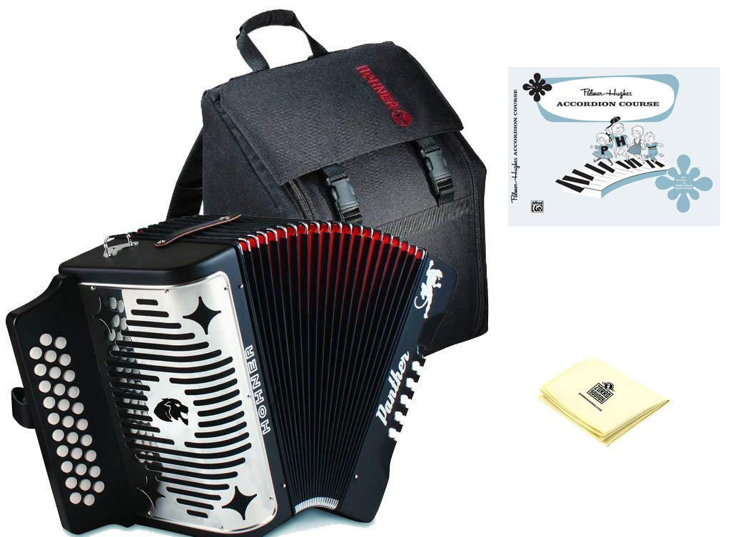 Hohner Panther 3100FB Diatonic Accordion Comprehensive Starter Kit with Gig Bag, Instruction Book and Cleaning Cloth by Hohner Accordions